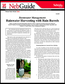 photo of first page of rainwater harvesting with rain barrels nebguide