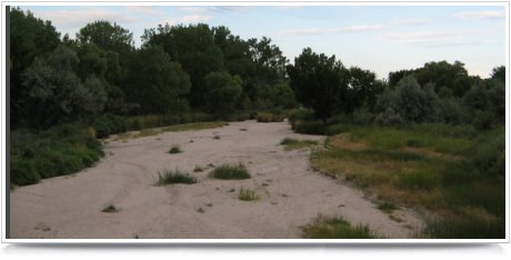 The Republican River in Nebraska is completely dry in 2005.