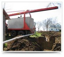 septic system trench being dug