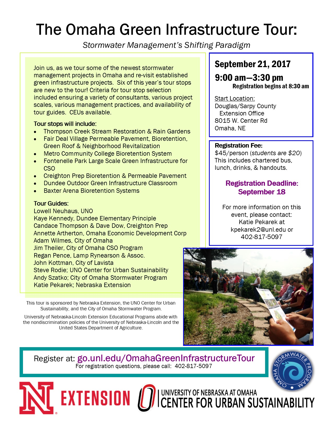 2017 Omaha Stormwater Management Tour flyer