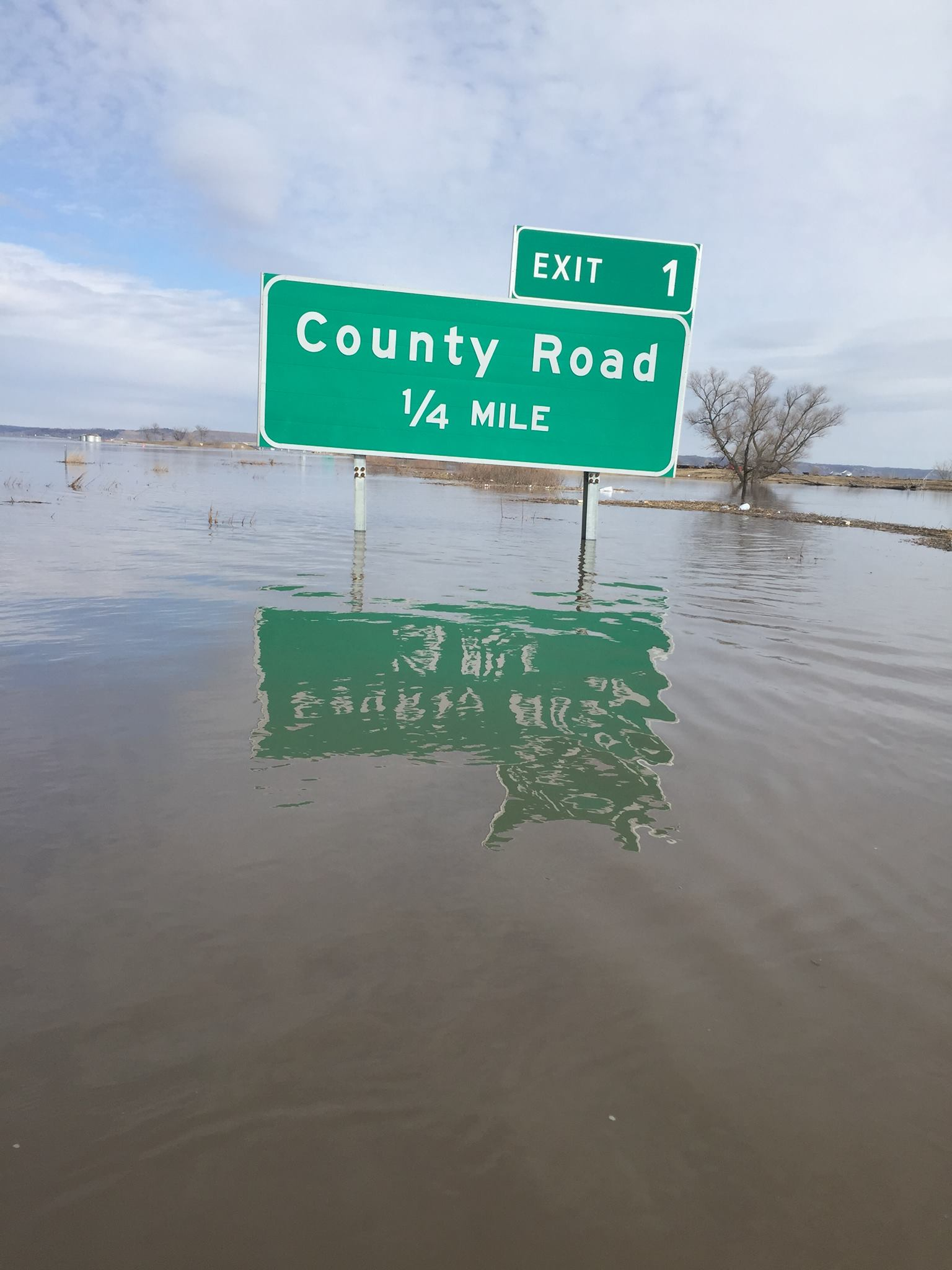 a sign during a flood