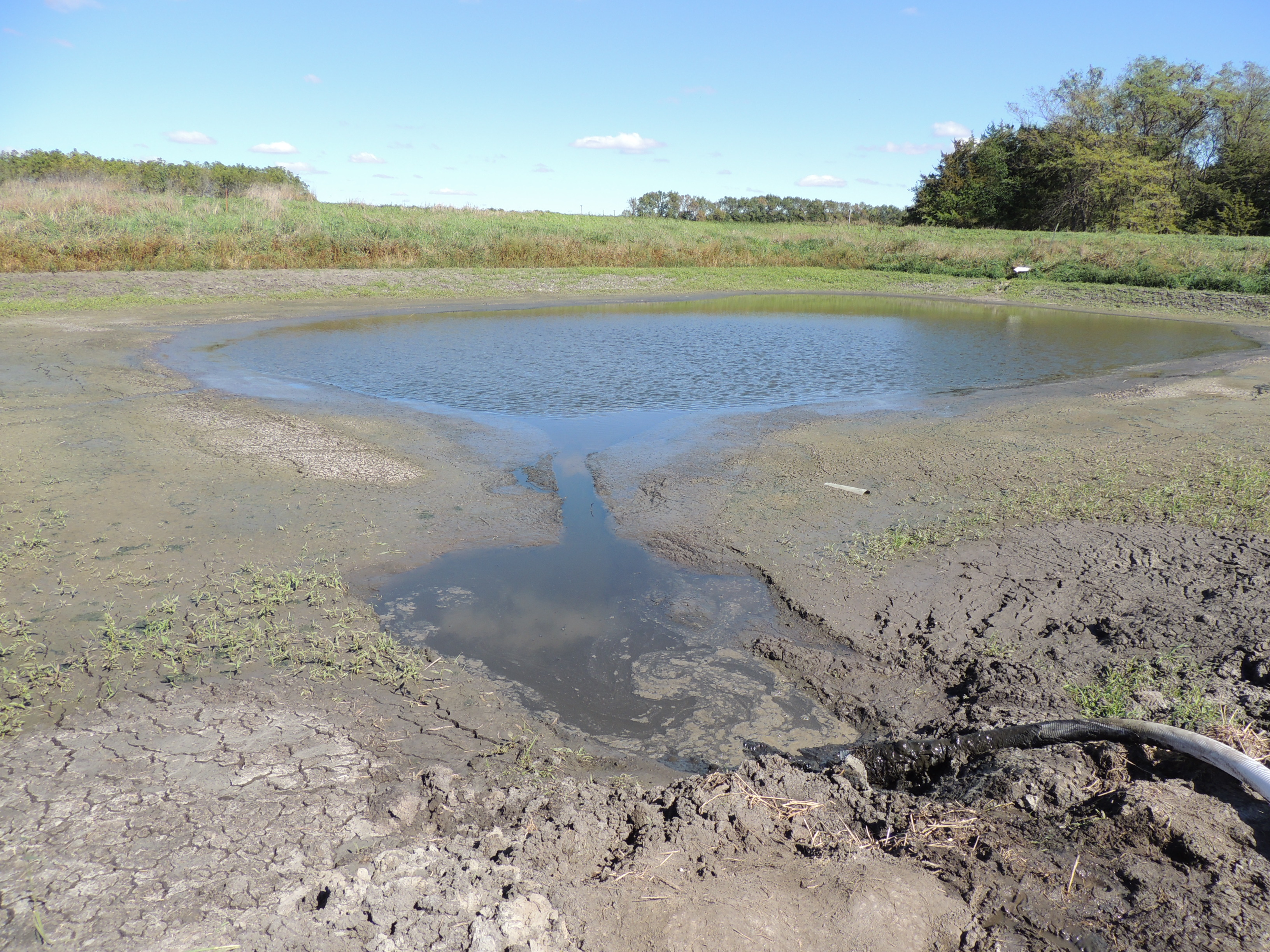 photo of the Haskell Ag Lab's swine lagoon during the dewatering process