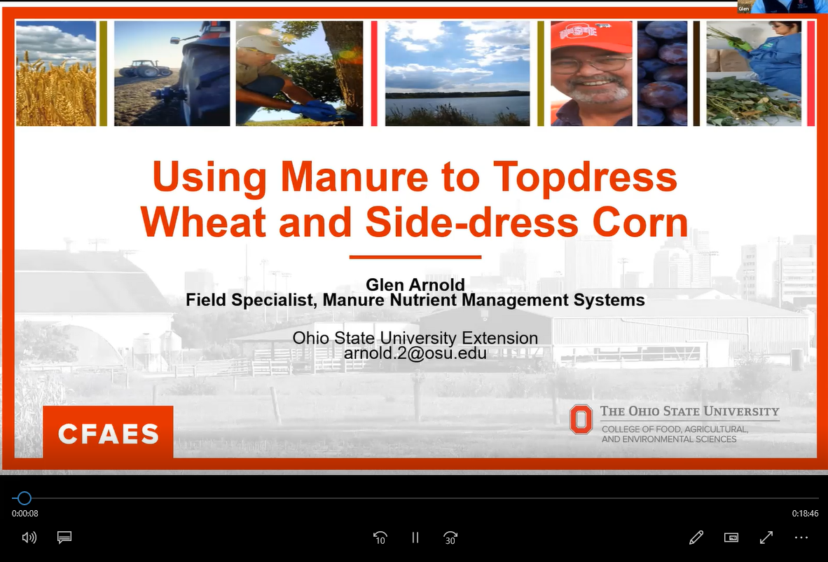 Glen Arnold's 20-minute discussion of Ohio's experiences with applying manure in corn after planting is available for viewing.