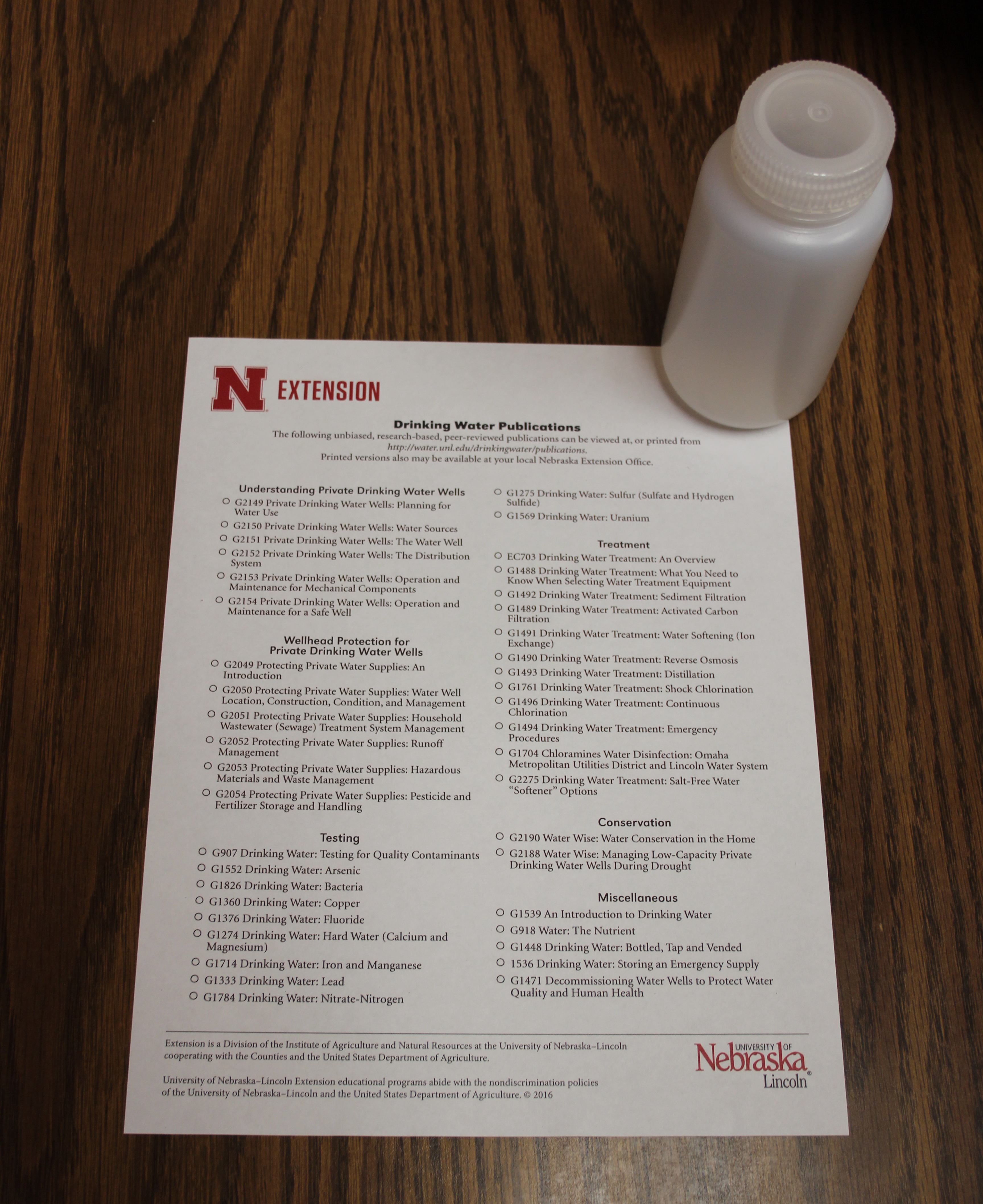 Testing kit and list of publications