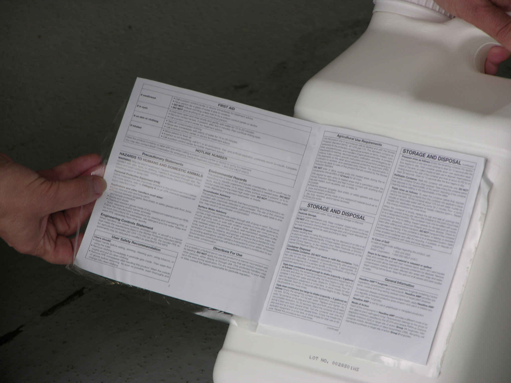 Pesticide Label showing Storage Requirements