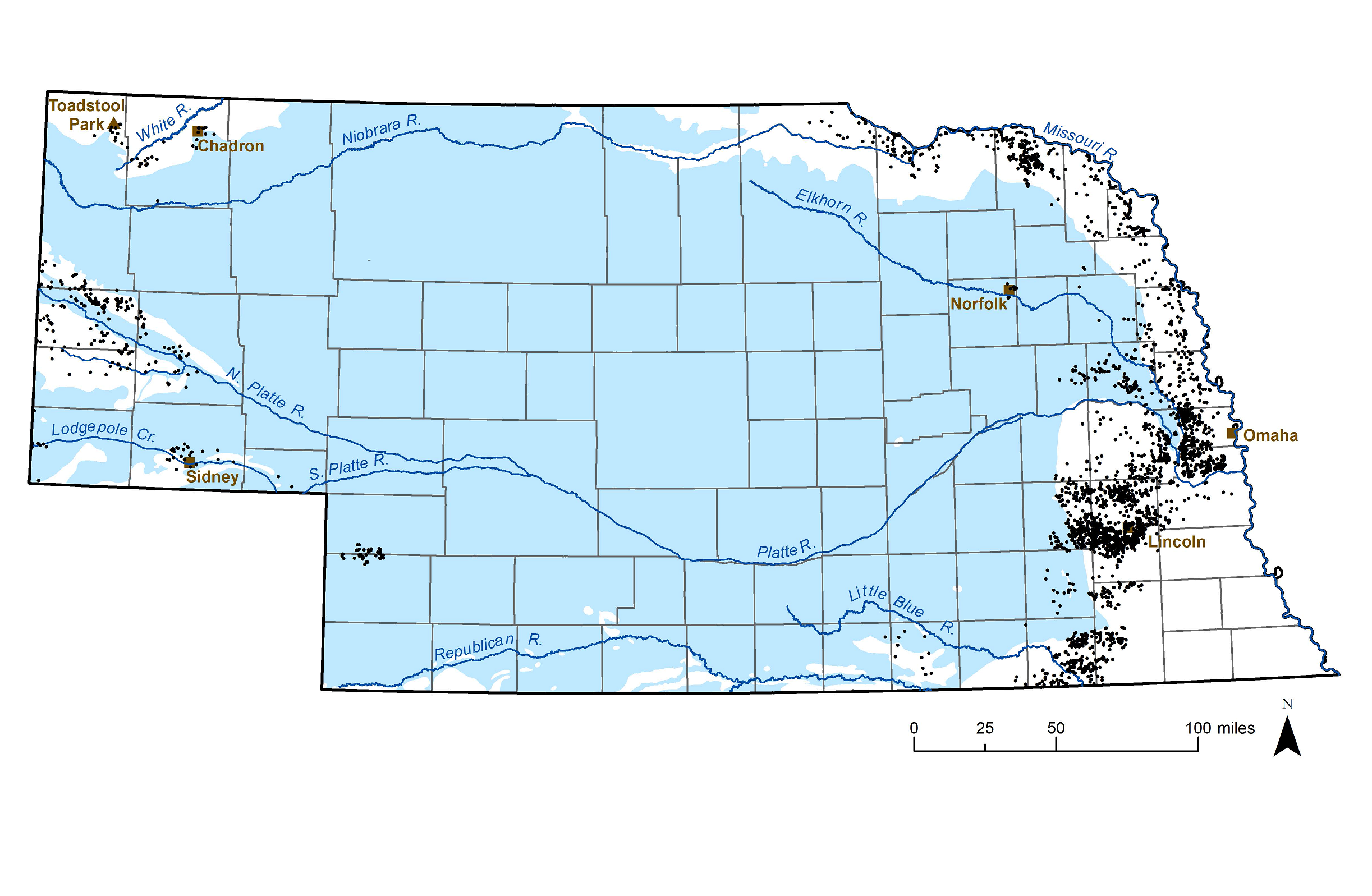 Map showing the extent of the High Plains Aquifer