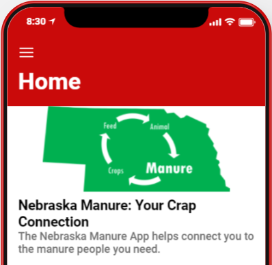 preview of manure app home screen