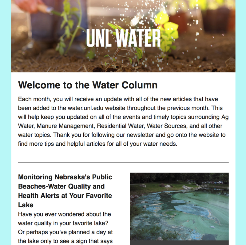 An example of the Water Column newsletter