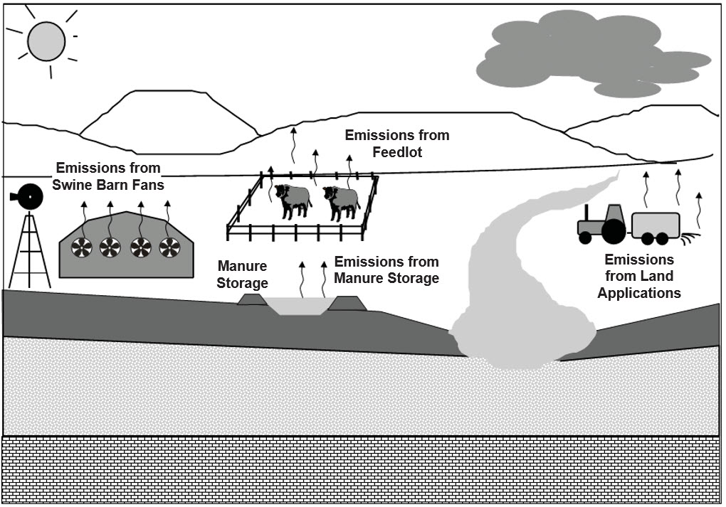 Common pathways for manure contaminants to pollute the air