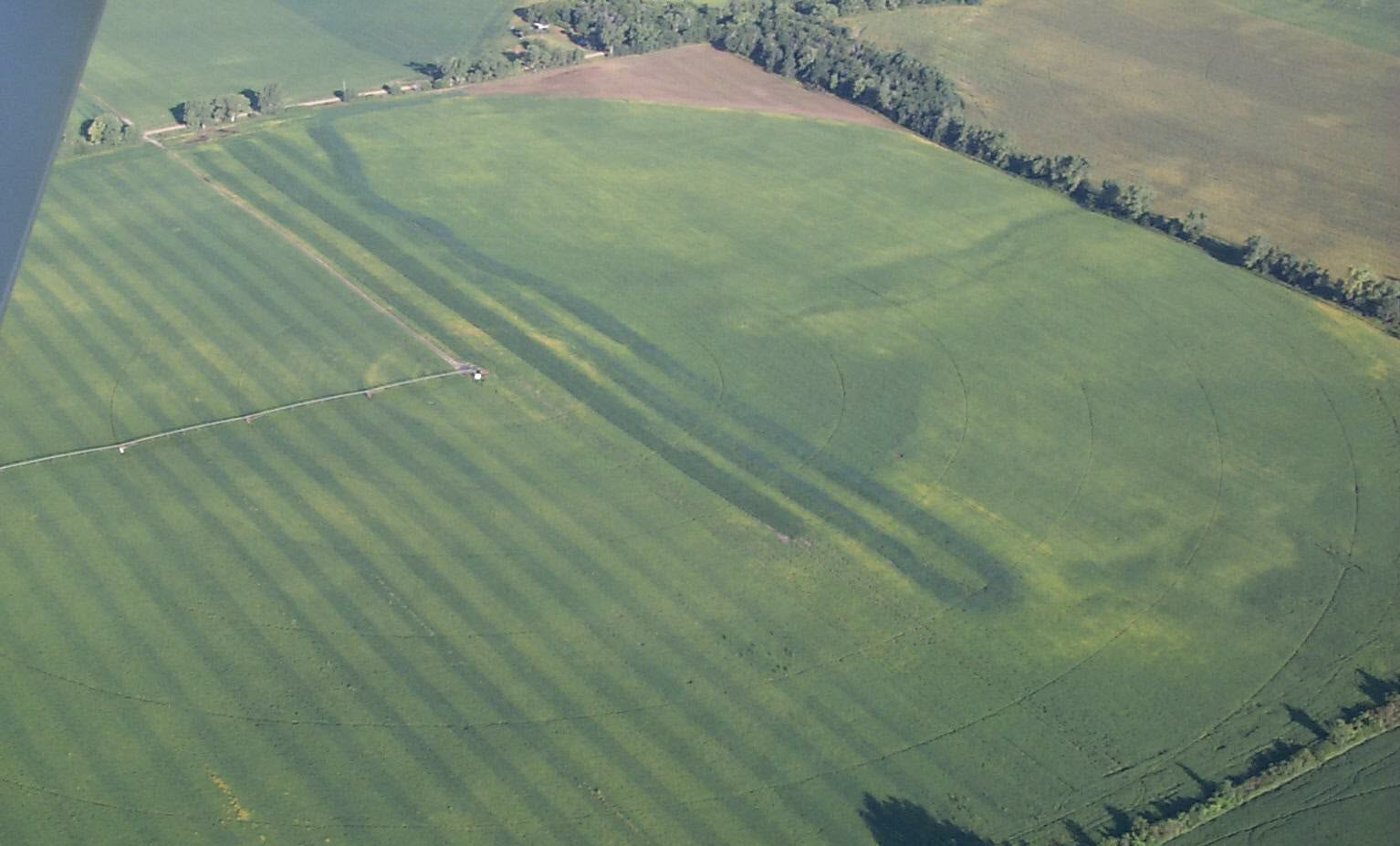 Aerial view of evident manure application error.