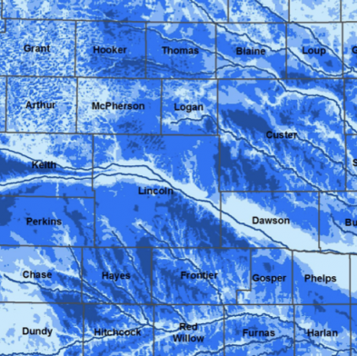 Map of Depth to Water in Nebraska