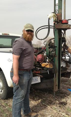 Jeremy Milander soil sampling at Haskell Ag Lab